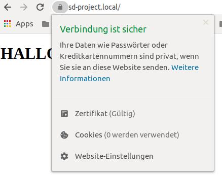 Sichere Verbindung Chrome